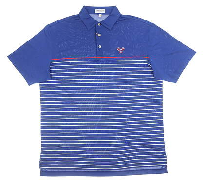 New W/ Logo Mens Peter Millar Polo Large L Blue MSRP $92 MS19EK63S