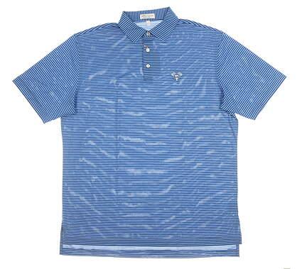 New W/ Logo Mens Peter Millar Polo Large L Blue MSRP $90 MF19EK51S