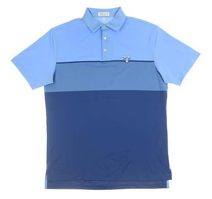 New W/ Logo Mens Peter Millar Polo Medium M Blue MSRP $90 MF19EK29S