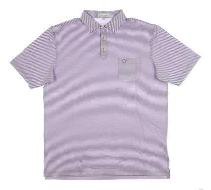 New W/ Logo Mens Peter Millar Polo Large L Purple MSRP $90 MF19EK79S