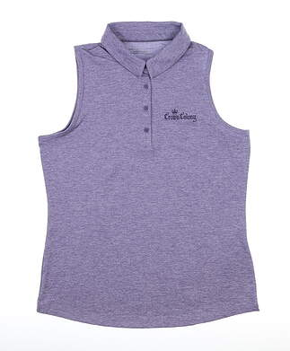 New W/ Logo Womens Under Armour Sleeveless Polo Large L Purple MSRP $70 UM0468