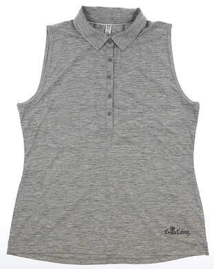 New W/ Logo Womens Under Armour Sleeveless Polo X-Large XL Gray MSRP $70 UW0455