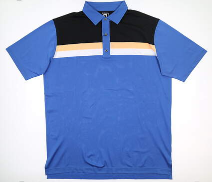 New Mens Footjoy Golf Polo XX-Large XXL Blue/Black/Peach MSRP $80 25659