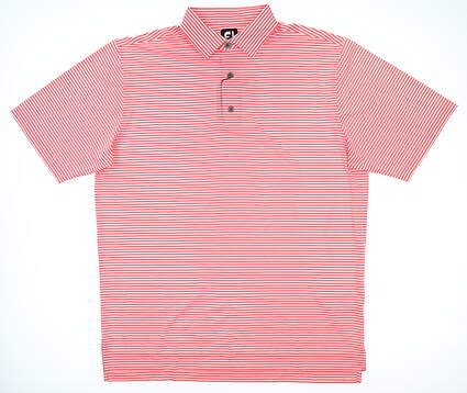 New Mens Footjoy Golf Polo Large L Coral/ WhiteMSRP $80 22185