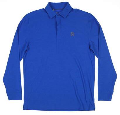 New W/ Logo Mens Under Armour Long Sleeve Polo Medium M Blue MSRP $85 UM0546