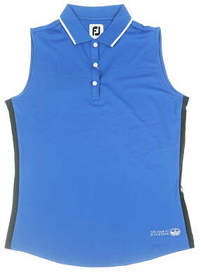 New W/ Logo Womens Footjoy Sleeveless Lisle Polo Medium M Royal 25469 MSRP $65