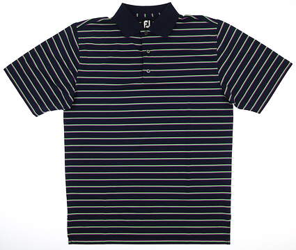 New Mens Footjoy Stretch Polo Medium M Navy Blue/Green/Orchid MSRP $75 20173