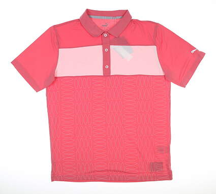 New Mens Puma Surf Town Polo Medium M Rapture Rose MSRP $75 596380 01