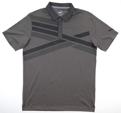 New Mens Puma Alterknit Texture Polo Medium M Quiet Shade MSRP $75 595779 06