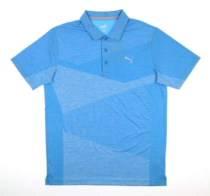 New Mens Puma Alterknit Jacquard Polo Medium Ibiza Blue Heather MSRP $70 597122 02