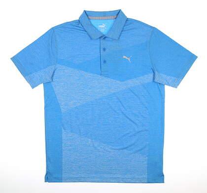 New Mens Puma Alterknit Jacquard Polo Medium Ibiza Blue Heather MSRP $70 597122 02