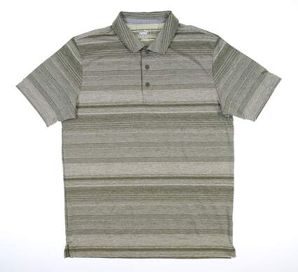 New Mens Puma Variegated Stripe Polo Medium M Deep Lichen Green MSRP $70 595792 02