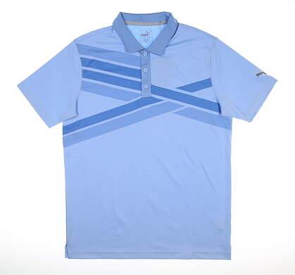 New Mens Puma Alterknit Texture Polo Medium Blue Bell MSRP $75 595779 03