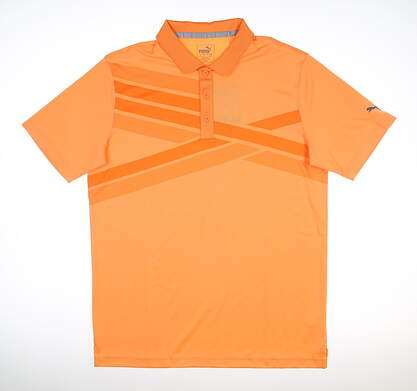 New Mens Puma Alterknit Texture Polo Medium Cantaloupe MSRP $75 595779 02
