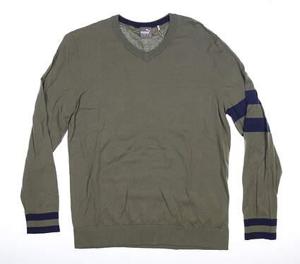 New Mens Puma Lux Sweater Medium M Deep Lichen Green MSRP $90 596812 02