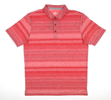 New Mens Puma Variegated Stripe Polo Medium M Barbados Cherry MSRP $70 595792 06