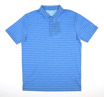 New Mens Puma Rotation Stripe Polo Medium Ibiza Blue MSRP $60 577974 25