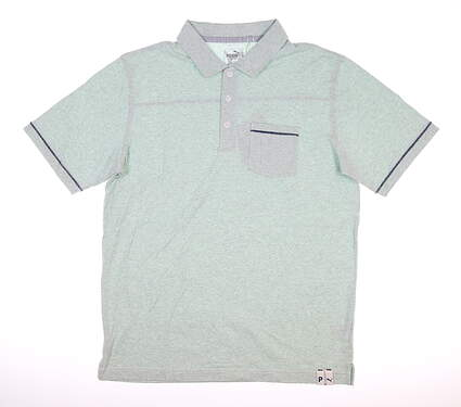 New Mens Puma Slub Polo Medium M Mist Green MSRP $70 595786 02