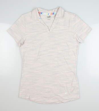 New Womens Puma Heather Slub Polo Small S Pink MSRP $60 595824