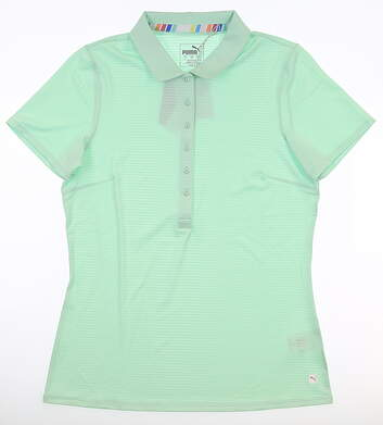 New Womens Puma Sheer Stripe Polo Small S Green MSRP $60 595826