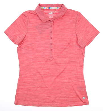 New Womens Puma Sheer Stripe Polo Small S Pink MSRP $60 59582626