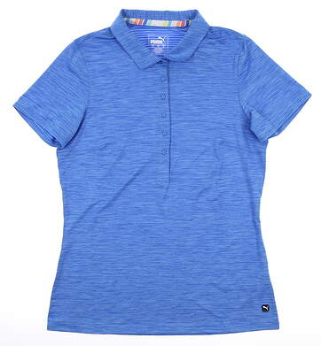 New Womens Puma Sheer Stripe Polo Small S Blue MSRP $55 595826
