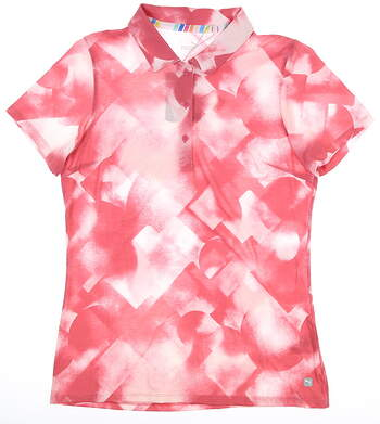 New Womens Puma Soft Geo Polo Small S Pink MSRP $60 595838