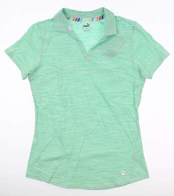 New Womens Puma Heather Slub Polo Small S Green MSRP $60