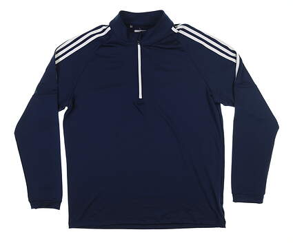 New Mens Adidas 1/4 Zip Golf Pullover Large L Navy Blue MSRP $60 CW4985