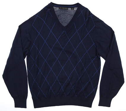 New Mens Greg Norman Natural Performance Sweater X-Large Navy Blue MSRP $89