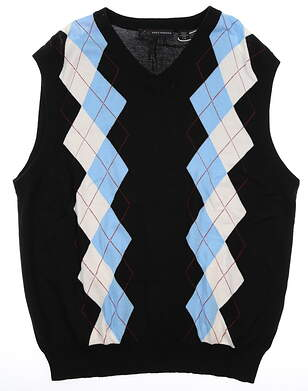 New Mens Greg Norman Essentials Sweater Vest Large L Black/Blue/White MSRP $69