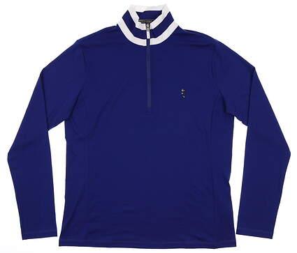 New Womens Ralph Lauren 1/4 Zip Sweater Large L Blue MSRP $140