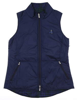 New W/ Logo Womens Peter Millar Reversible Vest Medium Blue MSRP $150