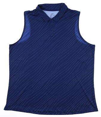 New Womens Nike Sleeveless Golf Polo X-Large XL Navy Blue MSRP $55