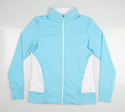 New Womens Footjoy Full Zip Mock Neck Small S Blue MSRP $95 57607