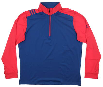 New Mens Adidas 3-Stripe 1/4 Zip Pullover Large L Red/ Blue MSRP $75