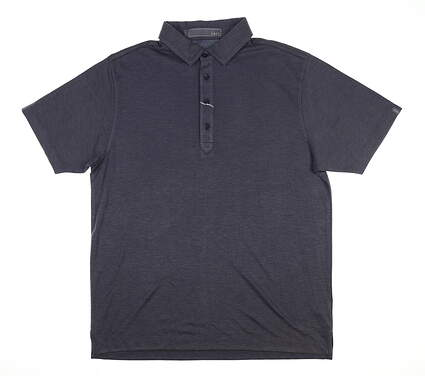 New Mens MATTE GREY Polo Large L Navy Blue MSRP $75 82914104
