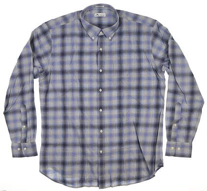 New Mens Peter Millar Button Up Large L Blue MSRP $104 MF18W74CVL