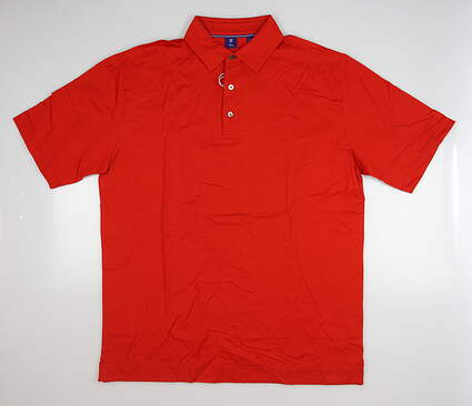 New Mens Footjoy 1857 Lisle Smooth Placket Polo Large L Red MSRP $125 25640