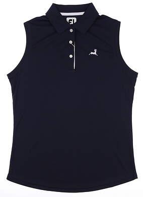 New W/ Logo Womens Footjoy Sleeveless Polo Small S Navy Blue MSRP $75