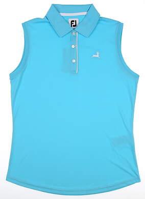 New W/ Logo Womens Footjoy Sleeveless Polo Small S Blue MSRP $75