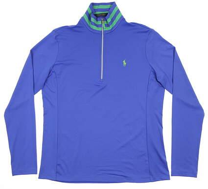 New Womens Ralph Lauren 1/2 Zip Pullover Large L Blue MSRP $125