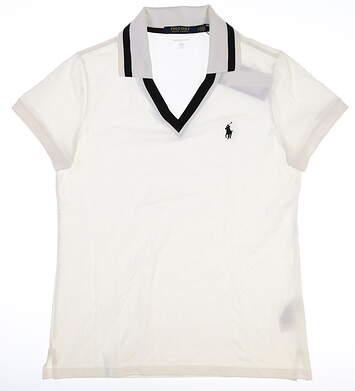 New Womens Ralph Lauren Tailored Fit Polo Medium M White MSRP $89