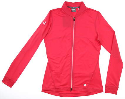 New W/ Logo Womens Puma Full Knit Jacket Small S Azalea MSRP $80 595447