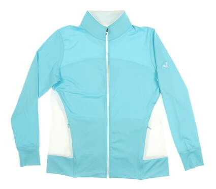 New W/ Logo Womens Footjoy Full Zip Mock Neck Small S Blue MSRP $100