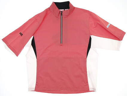 New W/ Logo Mens Footjoy Short Sleeve Rain Jacket Large L Red MSRP $162 23755