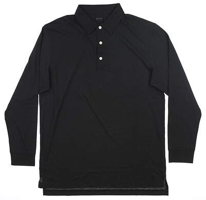 New Mens Dunning Long Sleeve Polo Large L Black MSRP $99 D7F18K892