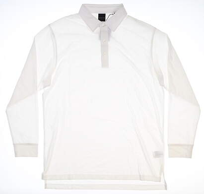 New Mens Dunning Long Sleeve Polo Large L White MSRP $99 D7F18K892