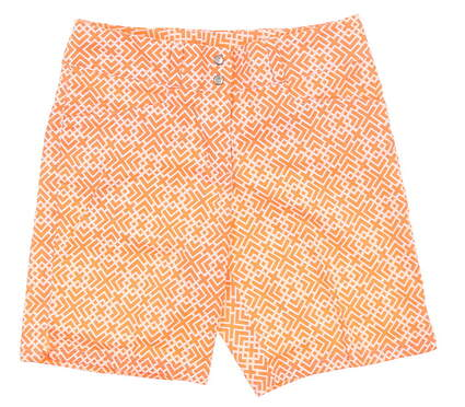 New Womens Adidas Printed Shorts 0 Orange/White MSRP $70 Z98560