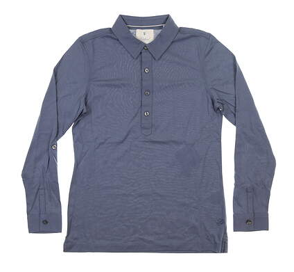 New Womens LinkSoul Long Sleeve Polo Medium M Blue MSRP $76 LSW138